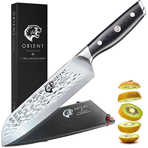 Küchenmesser 18cm Profi Santoku Messer Aus Japanischem AUS-8 Edelstahl, Kochmesser Mit Verchromter Klinge, Santokumesser In Geschenkverpackung mit Klingenschutz