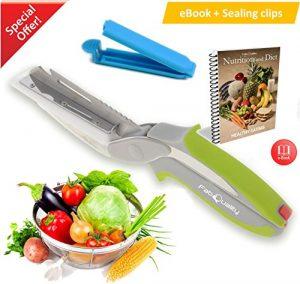 FabQuality Clever Cuttermesser Cutter 6-in-1 Küche Werkzeug Slicer Dicer Gemüse Chopper Ersatzmesser – Bonus Messer Gesunde Ernährung ebook enthalten (Englisch)