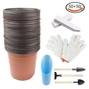 Whonline 50 6 Zoll Plastik Doppelfarben Pflanzen Töpfe Blumentöpfe mit 50 weiße Pflanzenetiketten, 1 Set Garten Handschuhe, 1 Schaufel und 1 Bodenslöffel