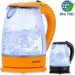 Monzana® Wasserkocher Teekessel Teekocher • 1,7 L • schwarz • Edelstahl • 2200Watt • LED Innenbeleuchtung • 360° kabellos • BPA frei