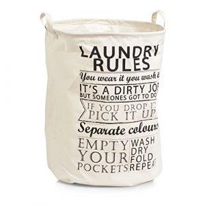 Zeller 14260 Wäschesammler Laundry Rules, Canvas, Stoff, beige, ca. 38 x 38 x 48 cm