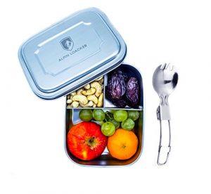 Edelstahl LunchBox für Kinder und Erwachsene mit Faltgöffel von ALPIN LOACKER – Brotdose, Brotbox, Vesperdose 1000ml   mit Fächern, Trennwand   Die perfekte größe für Ihre Lebensmittel.