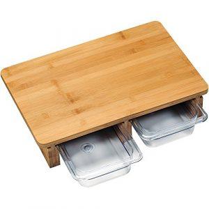 Kesper 58353 Schneidebrett mit 2 Auffangschalen aus Bambus/Kunststoff, Bambus, Braun/transparent, 41 x 26.5 x 8 cm