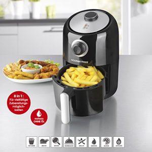 Heißluft-Fritteuse 1,2 Liter Fassungsvermögen 8in1 1000W Fritteuse ohne Öl, Gesund, Sicher und Multifunktional | Einstellbare Temperatur (0-200C) & 30-Minuten-Timer | fett-frei | BPA-frei