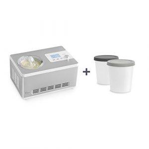 Eismaschine und Joghurtbereiter Elisa 2,0 L mit selbstkühlendem Kompressor 180 Watt von Springlane Kitchen Ice-Cream & Joghurt-Maker aus Edelstahl mit Kühl- und Heizfunktion, Abschaltautomatik, Eisbehälter & LCD Display