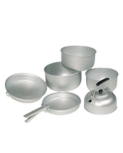 Mil-Tec Alu 3 Töpfe Pfanne Teekessel Koch-Set, Silber, 20.5 x 10.5 cm/19 x 8.5 cm/17 x 8.5 cm