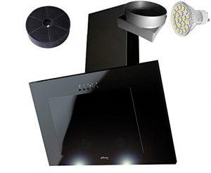 HAAG Vertikal C Schwarz + Glas + LED, Kohlefilter GRATIS! 60 cm Dunstabzugshaube, Kopffrei, Wandhaube