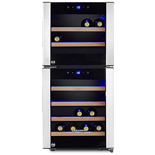 Kalamera KRC-33DZF Design Weinkühlschrank für bis zu 33 Flaschen (bis zu 310 mm Höhe),zwei Temperaturzonen ,5-18°C,(100 Liter, LED Bedienoberfläche, 2 Kühlzonen, Edelstahl)