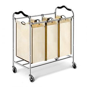 LANGRIA Wäschekorb Wäschesammler Rollend Wäschesortierer 3 Fächer Chrome Metal Rahmen 75 lbs Kapazität Beige
