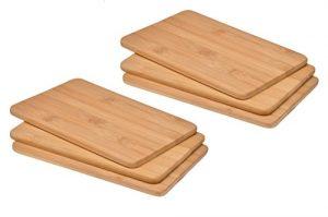 bonsport 6er-Set Schneidebretter :: 6 Brettchen/Frühstücksbrettchen aus Bambus Holz, 22 x 14 x 0,8 cm