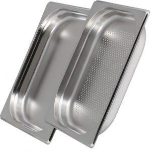 Greyfish 2 Stück GN Behälter SET :: 1x gelocht/1x ungelocht :: für Gaggenau/Miele/Siemens Dampfgarer (Gastronorm 1/2, Edelstahl/Spülmaschinentauglich, 40mm tief)