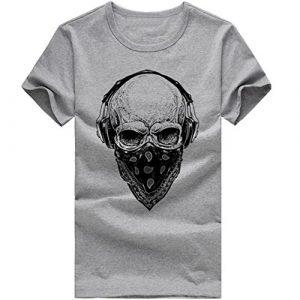 T-Shirts,Honestyi 2018 Frühling Sommer Herren T-Shirt Totenkopf Kapitän Captain Skull Bard Hipster Original Spirit Seemann Slim Fit Baumwolle Top Bluse Sweatshirts,Oversize S-XXXXL (XXXL, X-Grau)