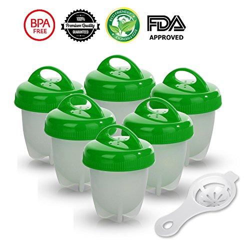 6er Eierbecher Set - Multifunktionale Eierhalt Antihaft-Eierkocher FDA-zugelassen von Gesundhome (Grün)