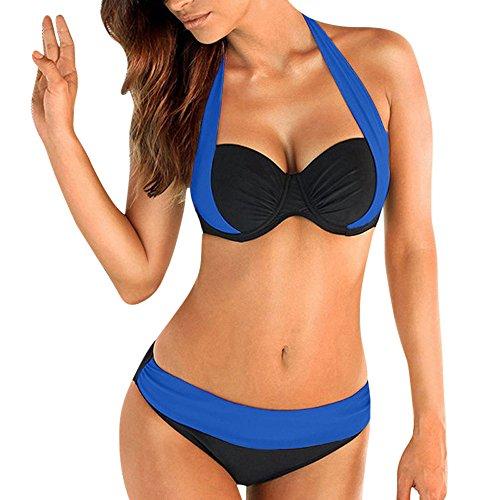 Bikini Teilen Bademode Damen DAY.LIN Frau Gepolsterter BH nach oben drücken Bandeau Bikini mit niedriger Taille Bademode Badeanzug Plus Größe (Blau, XL)