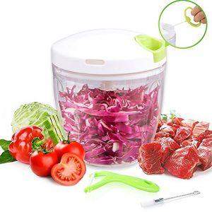 Zerkleinerer küche Manuell Küchenmaschine Gemüseschneider Gemüsehobel Multi 5 Klingen Zwiebelschneider Küchenhelfer für Babynahrung,Gemüse,Früchte,Fleisch -900 ml