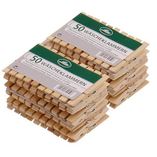 Wäscheklammern aus Holz in Sparsets sehr starke Holzklammern 73x10x12mm bewährte Hartholz-Qualität, Menge:100 Stück