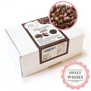 Sweet Wishes 900g Belgische Fondue-Schokolade Vollmilch-Drops – zart schmelzender Hochgenuss feine Leckerei für Schoko-Brunnen Fondue-Sets – beste Qualität – 10 Portionsbeutel zu je 90 g einzeln verpackt