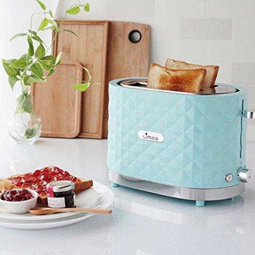 Limee Toaster 2 Scheibe mit breiten Schlitzen (TR0201-Brötchenwärmer Minze blau)