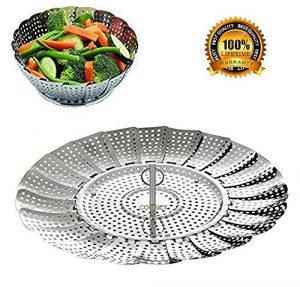 Bangshou Edelstahl Dampfgarer, Einstellbar Dünsteinsatz für Gemüse und Obst,faltbarer Körbchen rostfrei geeignet für Spülmaschinen Baby-Nahrung(14-23cm)
