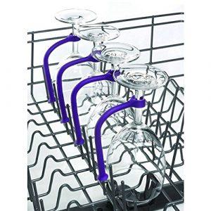 Weinglashalter, TPulling 4 Stück Einstellen Silikon Weinglas Geschirrspüler Becherhalter Weingläser Halter Wein Champagner Cup Hangers Rack Halter mit Schrauben Safer Stemware Saver (Lila)
