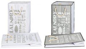 TOPP4u 2er Set Wäschekorb, Wäschesammler weiß & grau, 2 tolle LAUNDRY Designs, faltbarer Wäschesack 45 Ltr, 30x30x50 cm, langlebige, praktische Wäschebeutel