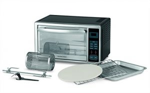 GOURMETmaxx 00968 Infrarot-Ofen mit Digital-Display 28L 1500 Watt (Mini Ofen für Pizza mit Pizzastein, Rotisserie, Spieß, Grillrost und Backblech) Schwarz Silber