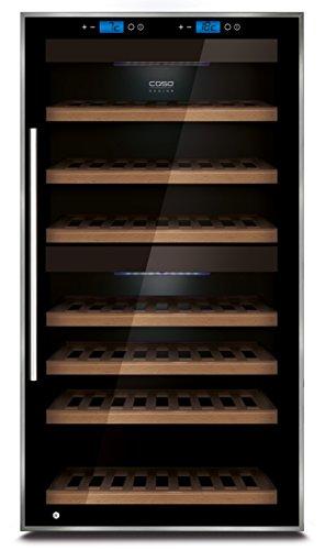 CASO WineComfort Touch 66 Design Weinkühlschrank für bis zu 66 Flaschen (bis zu 310 mm Höhe), zwei Temperaturzonen 5-20°C, Getränkekühlschrank, Energieklasse A