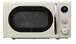 MEDION Mikrowelle MD 18028 / 800 Watt / Grillfunktion 1.000 Watt / 20 L Garraum / 8 Automatikprogramme / LED-Display / stilvolles Retro-Design / creme