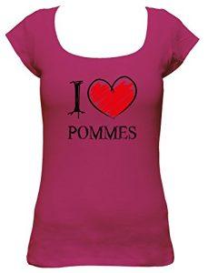 I love Pommes Fun Damen Boat Neck T-Shirt, Größe:XL;Farbe:pink