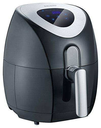 SEVERIN FR 2430 Heißluftfritteuse mit 6 Automatik-Programmen/innovative Heißluft-Technologie für vielseitige Ergebnisse, 3.2 Liters, Schwarz, Edelstahl