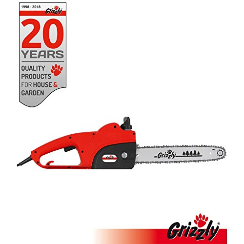 Grizzly Elektro Kettensäge, Motorsäge, Elektrische Kettensäge mit Metallgetriebe, 1800 W, 35,5 cm Schnittlänge, Chromekette, autom. Kettenschmierung, Kabelzugentlastung, Kettenbremse