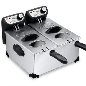 Deuba® Fritteuse Friteuse Fritöse Frittöse • 2x3l • 2200 Watt Edelstahl • kaltzonen • komplett zerlegbar • stufenlos temperierbar