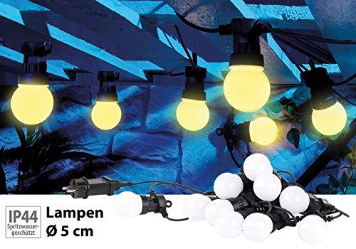 Lunartec Lichterkette Outdoor: Party-LED-Lichterkette m. 10 LED-Birnen, 3 Watt, IP44, warmweiß, 4,5 m (Garten-Lichterketten)