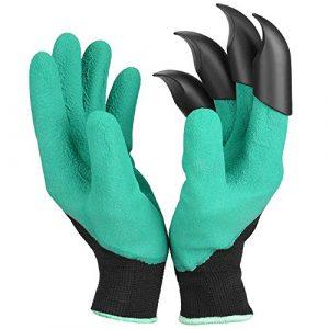Breathable Garten Handschuhe mit Krallen[1 Pack], Ninonly Wasserdicht Graben Jäten Tragbare Gartengeräte für Damen/Herren – mittlere größe