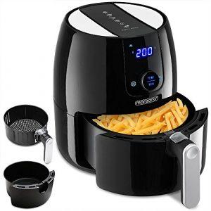 Monzana® Heißluftfritteuse Fritteuse inkl. Gratis Rezeptheft 1500W 4,6 Liter Touch-Display 9-in-1 – schwarz