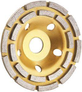 AGT Professional Topfscheibe: Diamant-Schleiftopf für Winkelschleifer, 2-fache Ringanordnung, 125 mm (Schleif-Topf)