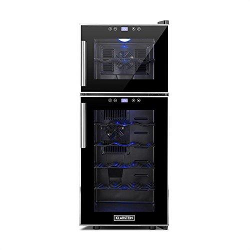 Klarstein Reserva 21 • Weinkühlschrank • Getränkekühlschrank • 56 Liter • 21 Flaschen • 2 Kühlzonen • 5 Regaleinschübe • Touch-Bediensektion • LED-Innenbeleuchtung • niedriges Betriebsgeräusch • LCD-Display • verstellbare Standfüße • schwarz