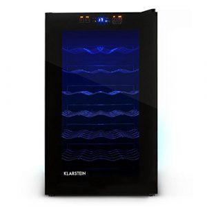 Klarstein MKS-2 • Weinkühlschrank • Getränkekühlschrank • 28 Flaschen • 6 Regaleinschübe • 70 Liter Volumen • Touchpad-Bedienung • 8-18° C Temperaturbereich • LED • Panorama-Tür • leise • schwarz