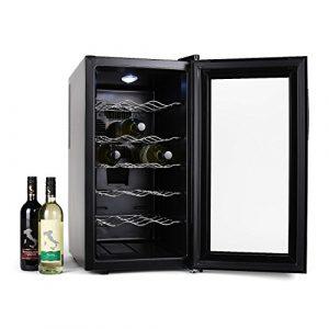 Klarstein Vivo Vino • Weinkühlschrank • Getränkekühlschrank • 52 Liter • 18 Flaschen • 5 Regaleinschübe • niedriges Betriebsgeräusch • Temperaturbereich: 11 bis 18°C • LED-Innenbeleuchtung • Touch-Bediensektion • Temperaturanzeige • schwarz