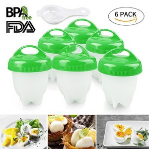 Egg Boiler 6er Multifunktionale Eierkocher Eggies Set Formen mit Eierseparator, FDA Antihaft-Silikon (grün)