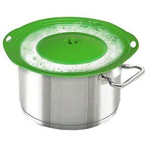 MIBOW Überkoch-Schutz, Deckel für Töpfe und Pfannen, schützt vor Überkochen und Verschütten von Flüssigkeiten auf den Herd, BPA-freies Silikon, leicht zu reinigen, Grün