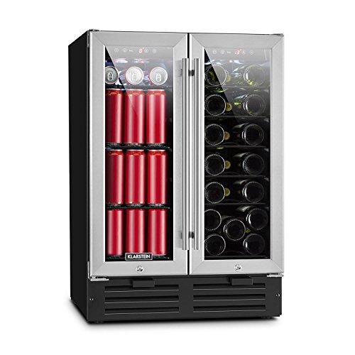 Klarstein Beersafe XXXL • Doppel-Weinkühlschrank • Getränkekühlschrank • 116 Liter Volumen für bis zu 18 Flaschen und 58 Dosen • zwei getrennte Kühlzonen mit jeweils Kühlbereich: 5 bis 22 °C • silber