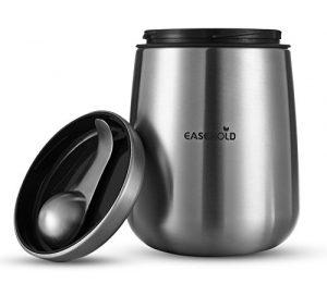 Easehold Kaffeedose aus Edelstahl mit Magnet Löffel, Vorratsdose für Kaffeebohnen oder Kaffeepulver, Tee, Nüsse, Kakao perfekt aufzubewahren silberne 1,5Liter