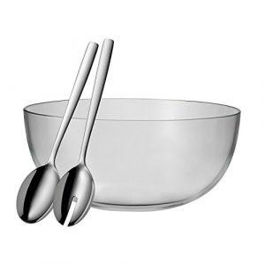 WMF Taverno Salatschüssel-Set, 3-teilig, Glasschale Ø 30 cm, Salatbesteck 30 cm, Glas, Edelstahl Cromargan, rostfrei, spülmaschinengeeignet