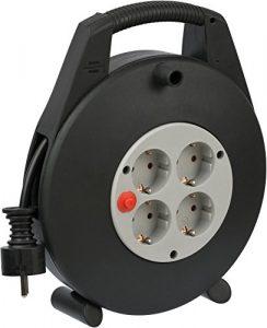 Brennenstuhl Vario Line 4-fach Kabelbox / Indoor Mini-Kabeltrommel (für Haushalt, 10 m Kabel) schwarz/grau