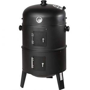 TecTake 3in1 BBQ Holzkohlegrill Barbecue Smoker Räuchertonne Räuchergrill mit Thermometer – diverse Modelle- (3 in 1 Räuchertonne)