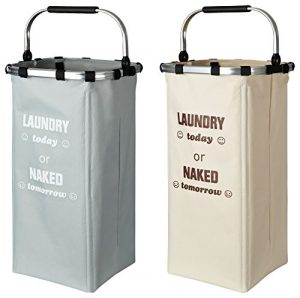 TOPP4u Wäschekorb 2X, groß & Stabil, Leicht zu Tragen, 60 l -33 x 33 x 66 cm, 2er Set Wäschesammler Zum Wäsche sortieren, Laundry Basket