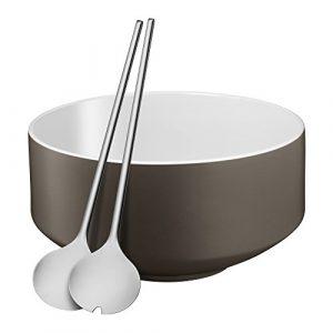 WMF Moto Salatschüssel Set, 3-teilig, Salatschale, Ø 26 cm, mit Salatbesteck, Porzellan, Cromargan Edelstahl poliert, spülmaschinengeeignet, Lava Grey Satin, grau