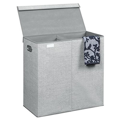 mDesign Wäschetruhe – Design Wäschekorb für Kinderzimmer, Bad oder Schlafzimmer – faltbar im Jute-Look mit zwei Fächern – grau