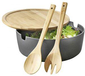 Esmeyer Servierschüssel Brooklyn aus Bambus-Kunststoff-Gemisch mit Deckel und Salatbesteck Salatschüssel, anthrazit, 26 cm